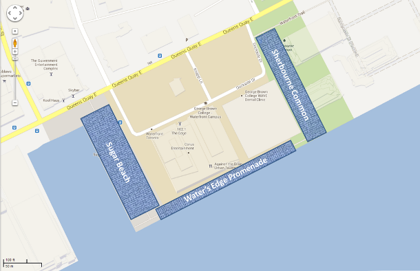 Silva Cells were installed in 2010 and 2011 at three sites (highlighted in yellow) around the sides of a building as part of the WaterfronToronto revitalization project. The trees on each site fared very differently. Why?