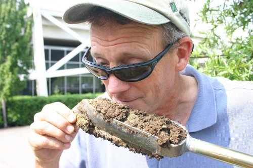 Jim smelling soil
