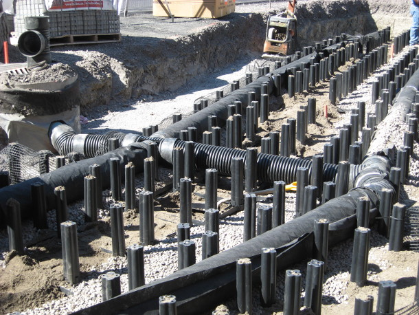 St. Clement School - stormwater distribution pipes
