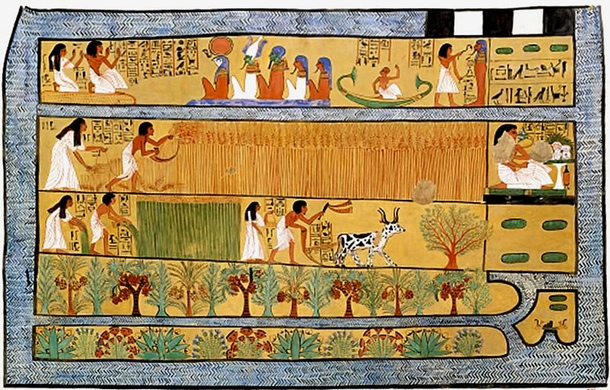 A well preserved painting from the tomb of an Egyptian builder Sennedjem, in Deir el-Medina (19th dynasty) presents a cultivation of cereals, as well as ploughing, but first of all—an orchard and a flower bed, located on fields surrounded by canals. Trees and flowers planted alternately with great regularity prove the careful planning of the garden.