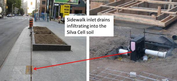 Sidewalk inlet drains
