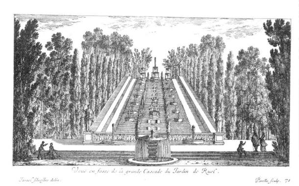 Jardin de Rue, 1638, Water cascade and allée. Image via Hubert Chanson.