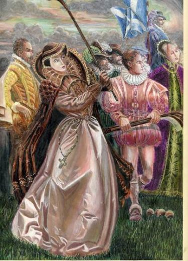 Image of Mary Queen of Scots playing Pall Mall (Image from www.molespace.co.uk)