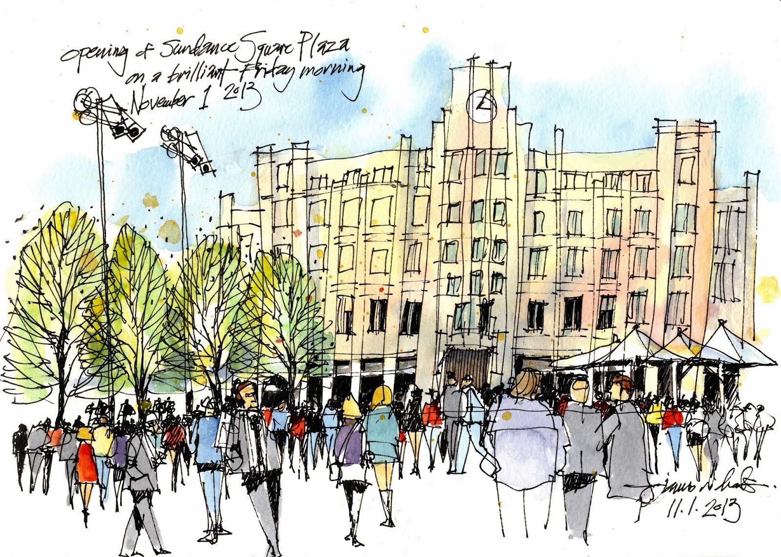 sundance square plaza opening_Jim Richards Sketch