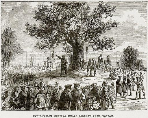 """Indignation meeting under the Liberty Tree."" Image via http://americanlibertyassociation.com/"