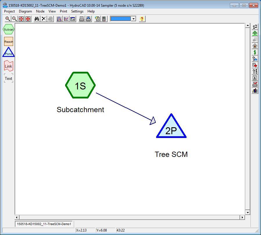 FIGURE 2-2. Baseline Tree SCM set up in HydroCAD.