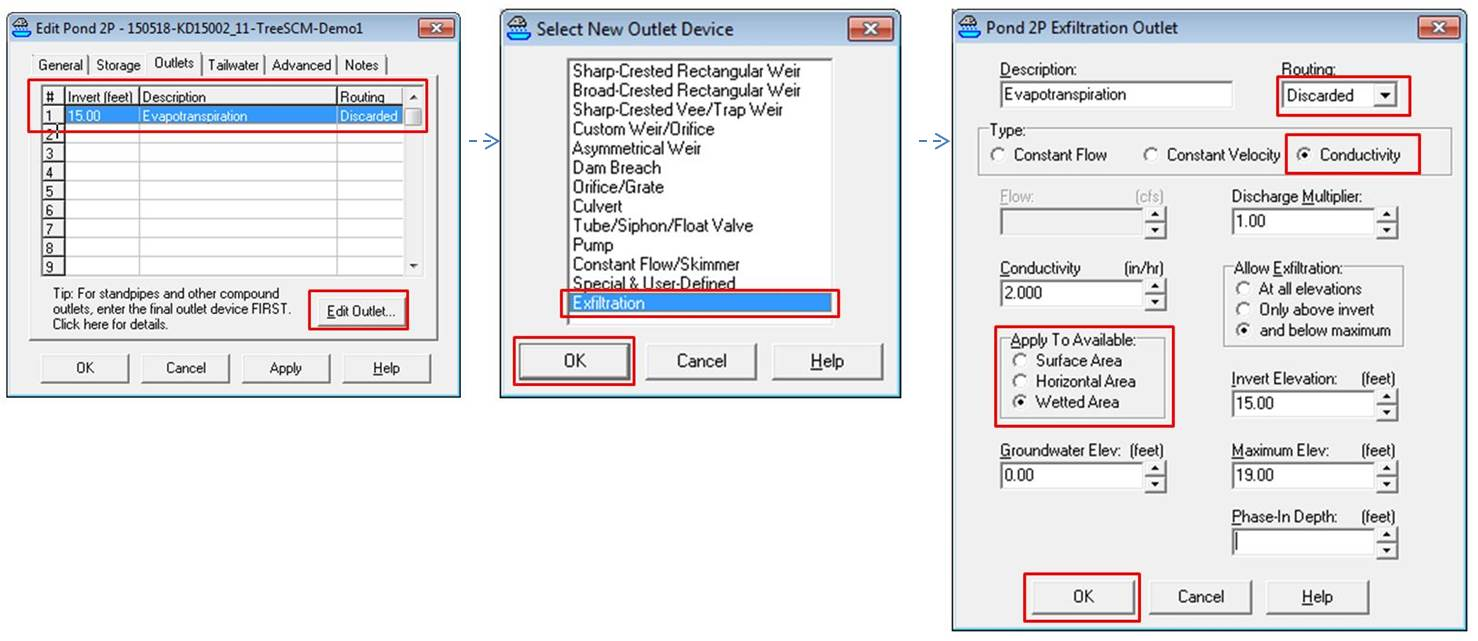 """FIGURE 2-4. Setting up the Outlet Condition """"Losses"""" for proxy ET for an example Tree SCM in HydroCAD within the """"Pond"""" node. (Click for more detail)"""