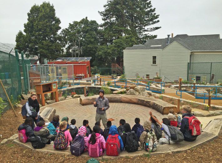 Garden educator Adam Long teaching one of the first classes at the College Hill Learning Garden